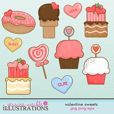 Valentine Sweets Cute Digital Clipart for Card Design, Scrapbooking, and Web Design
