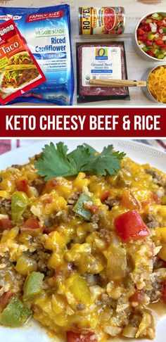 Healthy Low Carb Recipes, Keto Recipes, Healthy Eats, Rice Recipes For Dinner, Keto Lunch Ideas, Beef And Rice, Grass Fed Beef, Recipes For Beginners, Cauliflower Rice