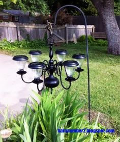 : I finally saw the light, DIY Solar Chandelier – Solar Light Crafts Diy Solar, Solar Light Crafts, Solar Patio Lights, Patio Lighting, Lighting Ideas, Outdoor Lamps, Outdoor Carpet, Landscape Lighting, Outdoor Chairs