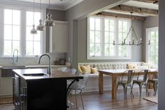 Different than my usual taste but love the layout and laid back feel instead of formal dining room Stockett Drive, Franklin, TN - contemporary - kitchen - nashville - Casella Interiors Wooden Dining Table Designs, Kitchen Trends, Small Kitchen, Kitchen Remodel, Contemporary Kitchen Design, Contemporary Kitchen, Kitchen Benches, Home Kitchens, Dining Table Design