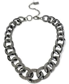Kenneth Cole New York Hematite-Tone Graduated Crystal Link Necklace