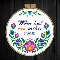 Cross Stitch pattern We've had sex in this room Bedroom quote Floral wreath Cross Stitch quote Flowers Subversive Polish folk