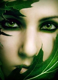Green eyes and green leaves.