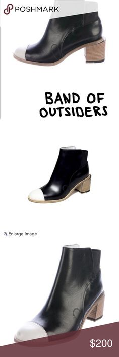 """Band of Outsiders Ankle Boot Band of Outsiders Jodhpurs Cap-Toe Ankle Boots.  These are absolutely gorgeous!!! Never worn, no box.  Leather boot with a stacked heel Heel height 2:5""""  Not to be missed, very hard to find now in bigger sizes. Band Of Outsiders Shoes Heeled Boots"""