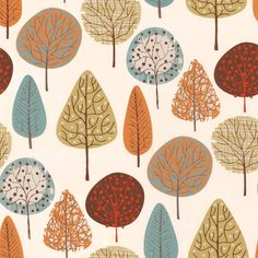 Luxury White, Blue, Orange, Brown & Lime Funky Trees Patterned Roller Blinds from English Blinds. Watercolor Projects, Watercolor Trees, Easy Watercolor, Watercolor Paintings, Fabric Stamping, Plant Illustration, Surface Pattern Design, Art Plastique, Tree Art