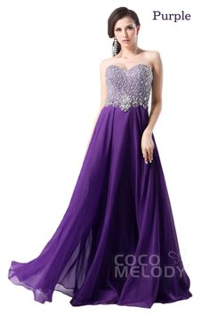 Perfect Sheath-Column Sweetheart Floor Length Chiffon Prom Dress with Beading and Crystals COZF1405ACocomelody#promdresses#formalpartydress#