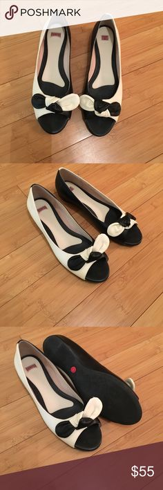 Camper flats new! Adorable flats. You need these. Just cute. (@18) New, no box. Off white and black. Camper Shoes Flats & Loafers
