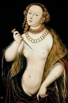 DER DOLCH: Der Selbstmord von Lucretia (mit einem Dolch). Lucas Cranach der Ältere  (1472-1553) / The Suicide of Lucretia (1538)