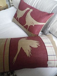 Hand printed pair of rustic mulberry pheasant by helkatdesign