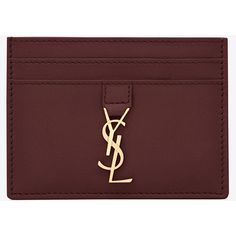 Saint Laurent Ysl Credit Card Case ($200) ❤ liked on Polyvore featuring bags, wallets, red leather bag, red bag, leather card case wallet, loop wallet and card carrier wallet