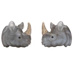 Exquisite Rhinoceros Cufflinks by Michael Kanners | From a unique collection of vintage cufflinks at https://www.1stdibs.com/jewelry/cufflinks/cufflinks/