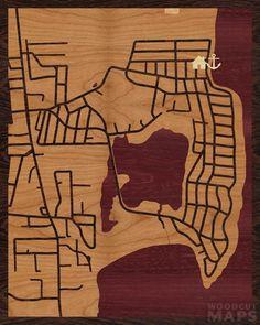 "The Lake looks like an elephant! Charming markers too. <3 16""x20"" Woodcut Map of Narragansett via @Woodcut Maps"