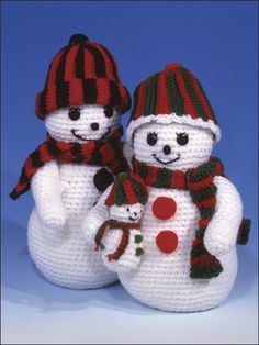 The Smiley Snows Crochet Pattern Download from e-PatternsCentral.com -- Stitch this adorable trio for a festive winter centerpiece.