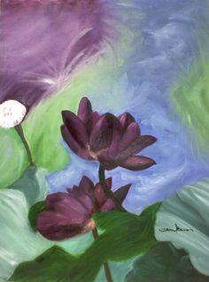Tami Baron - Nanci's Purple Lotus Flower - Oil on canvas board 12 x 16