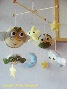 Modern Nursery baby Mobile -- Owl family (for my chio o sister)