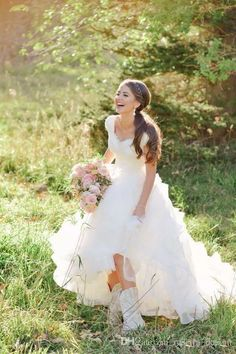 Discount 2017 Simple Country Wedding Dresses A Line V Neck Lace ...