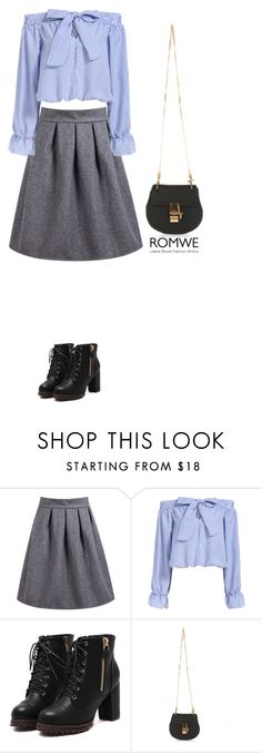 """""""Gray skirt"""" by bondril ❤ liked on Polyvore featuring women's clothing, women, female, woman, misses, juniors, contest and romwe"""