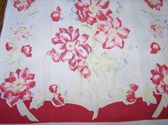 Red linen kitchen towel 1940-50's