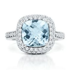 Cushion Cut Aquamarine Ring - March - Birthstones - Jewelry - Helzberg Diamonds