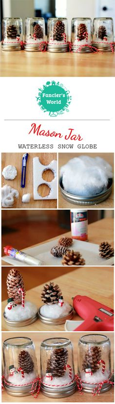 Steps for making DIY Mason Jar Waterless Snow Globe. It is perfect as a Holiday Gift or Party Favor for Winter Wonderland Themed Party.