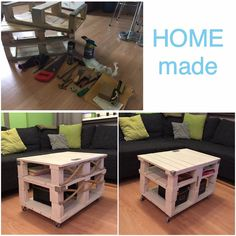 my first pallet furniture project - a coffee table in vintage style, with decoration from steel and rope...