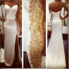 2014 White Gold Evening Dresses Long New Design Sweetheart Beads Mermaid Slit Sexy Prom Gowns Elegant Dresses, Pretty Dresses, Formal Dresses, Gold Prom Dresses, Wedding Dresses, Gold Dress, Prom Gowns, Gold Gown, Glitter Dress