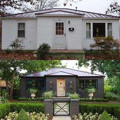 Charcoal brick exterior home makeover. Curb appeal before and after. Charcoal brick exterior home makeover. Curb appeal before and after. Home Exterior Makeover, Exterior Remodel, Exterior Doors, Exterior Paint, Exterior Design, Craftsman Exterior, Grey Exterior, Cottage Exterior, Craftsman Style