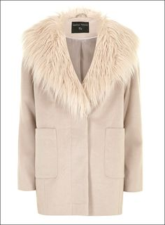 Cream Coat with Fur Collar