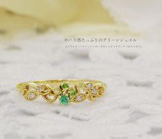 "Emerald × peridot × rose-cut diamond ring ""Botanical""  エメラルド×ペリドット×ローズカットダイヤリング「ボタニカル」"