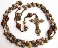 Colonial Spanish Hand Made Bronze Rosary in Leopardskin and Brecciated Jasper