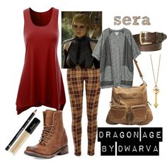 Dragon Age - Sera by dwarva on Polyvore featuring Monki, River Island, Freebird, Wet Seal, Rebecca Minkoff, Elliot Rhodes and Givenchy