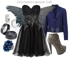 Chi Chi ruffle cocktail dress, $97 / Comme des Garçons stripe blazer / Charlotte Russe glitter ankle boots / Estradeur ring, $19 / Nordstrom earrings / MAKE UP STORE glitter makeup, $19 / BLACK DOVE WINGS (set B) real bird parts for taxidermy crafts, feather…