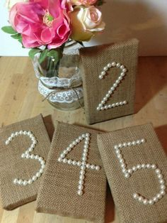 WEDDING BURLAP Table Numbers Pearls Wedding Reception Decor, Rustic, Shabby Chic via Etsy. WANT