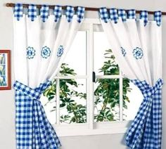 Blue and White checks. Decor, Kitchen Curtains, Article Furniture, Stylish Curtains, Drapes Curtains, Home Decor, Home Deco, Curtain Decor, Curtain Designs