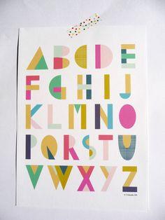 Alphabet Geometric art print - Poster A4