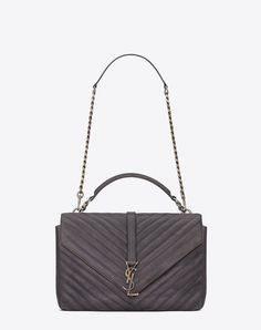 large collège bag in dark anthracite matelassé leather. Saint Laurent ... 5521844d81f7f