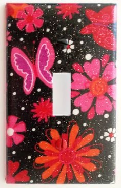 Girl Hot Pink Red Butterfly Flower Light Switch Outlet Cover Bling Glitter Wall Decor. Different plate styles available.