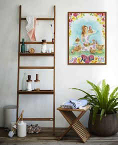 An idea that works well for outdoor showers or Zen-style bathrooms with wooden bathtubs, ladders such as the Nomad Shelf System from Skagerak, offer storage that doesn't look like storage, and can be used as a toiletry shelf and as a towel rack. Bathroom Styling, Bathroom Storage, Small Bathroom, Bathroom Shelves, Bathroom Ideas, Ladder Storage, Box Storage, Wooden Bathtub, Magazine Deco