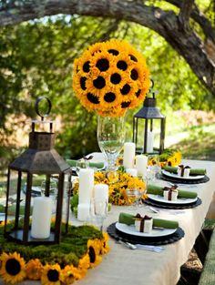 Hochzeit tischdekoration sonnenblumen kerzenhalter