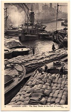 An poster sized print, approx (other products available) - London Life - The Busy Docks of the Port of London Date: circa 1940 - Image supplied by Mary Evans Prints Online - Poster printed in the USA Victorian London, Vintage London, Old London, London City, East London, London Docklands, London History, British History, Asian History