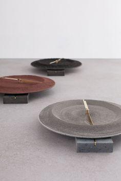 Monti Silvestri, 2014Basalt, brass, electrical components, lava sand.Each piece: H35 x D35 cm'De Natura Fossilium' by studio Formafantasma.Photo by Luisa Zanzani. Courtesy of Gallery Libby Sellers.
