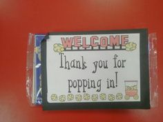 Open house - thank you gift for parents