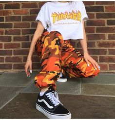 @yvngalexa 🥓 || orange camo pants || Thrasher || vans old skool
