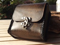 Leather Belt Pouch / MTG Deck box Steampunk by BeastmanCaravan