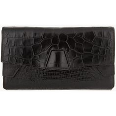 ALEXANDER WANG Black Leather Reptile Embossed Trifold Lydia Clutch