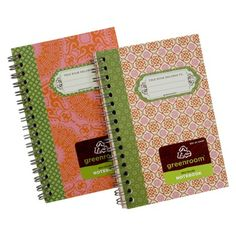 "4X6"" Greenroom Recycled Spiral Notebook - Pink/Orange/Green Print"
