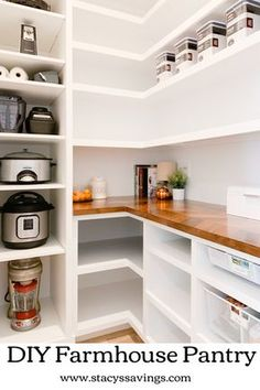 Pantry Room, Walk In Pantry, Built In Pantry, Walkin Pantry Ideas, Closet Pantry Shelving, Small Pantry Closet, Pantry Office, Kitchen Pantry Design, Kitchen Decor