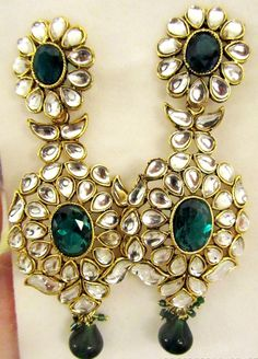 Long Kundan earrings Kundan Green Chandelier by taneesijewelry, $65.00
