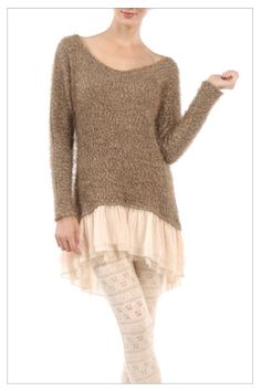 this is not a tutorial, but could do this and turn a sweater into a cute dress. Bohemian Hippie Clothes, Hippie Outfits, Diy Fashion, Fashion Outfits, Fashion Design, Reuse Clothes, Diy Couture, Altered Couture, Tunic Sweater