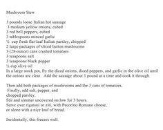 My absolute favorite Mushroom Stew recipe….a Utica, NY Tradition! Italian Dishes, Italian Recipes, New Recipes, Crockpot Recipes, Easy Recipes, Easy Meals, Cooking Recipes, Favorite Recipes, Ny Food